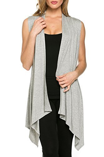 Women's Solid Color Sleeveless Asymetric Hem Open Front Cardigan (HEATHER GRAY, L)