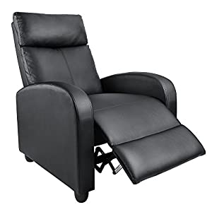 Homall Manual Recliner Chair Padded PU Leather Home Theater Seating Modern Chaise Couch Black Lounger Sofa Seat