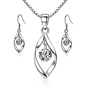 Maylena Belle Platinum Rhodium-Plated Sterling Silver Cubic Zirconia Pendant Necklace and Earrings Set