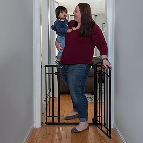"""41bLeS799BS Summer Multi-Use Decorative Extra Tall Walk-Thru Baby Gate, Fits Openings 28.5"""" to 48"""" Wide, Black Metal, for Doorways and Stairways, 36"""" Tall Baby and Pet Gate, Black, One Size    With its stylish arch, the Summer Multi-Use Decorative Extra Tall Walk-Thru Baby Gate in black metal is secure, convenient, and compliments your home's look. This 36"""" tall baby and dog gate fits openings 28.5"""" to 48"""" wide and can be installed in doorways or hallways using the no-drill pressure mount system with adhesive wall cups. Hardware is included for a secure installation at the top or bottom of stairs. It's easy to operate this gate when your hands are full. The convenient auto-close feature will shut and latch the door behind you. Or engage the hold-open feature by opening the door more than 90 degrees. If installed between rooms, the gate door opens in either direction. Over stairs, add the included door stopper to help prevent the door from swinging outward. Package includes hardware installation kit. Recommended tools for hardware installation: drill, Phillips-head screwdriver, pencil, measuring tape. TWO INSTALLATION OPTIONS: Install this baby gate for stairs safely with the included hardware kit. Or set it up in a doorway by using the no-drill pressure mount system with wall cups.CONVENIENT DOOR: Perfect for when your hands are full, this baby gate with 19"""" wide door is equipped with a hold-open feature that helps keep the door open, and an auto-close that shuts it behind you.SAFE AND SECURE: You'll know your baby or pet can explore safely when this baby gate with door is latched securely. The door stopper helps prevent the door from swinging outward when installed over the stairs.STYLISH LOOK: This metal safety gate with a black finish features an eye-catching arch, so you can childproof your home in style."""