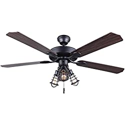 "CANARM CF52OTT5GPH Otto 52"" Ceiling Fan with 5 Rev Blades Silver Oak/Walnut 3 Light"