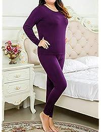 Aancy Plus Size XL-6XL Thermal Underwear Women Long Girls Winter Thermo Clothing Ladies Pajamas Thermos Set Slim Shaper Female Purple 6XL