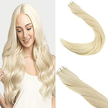 Sunny Tape in Extensions Human Hair 16inch Tape Hair Extensions Remy Human Hair Extensions Tape in Color #60 Platinum Blonde Tape Hair Extensions Blonde 20pcs 50g Weihai senlian interational trade co. ltd
