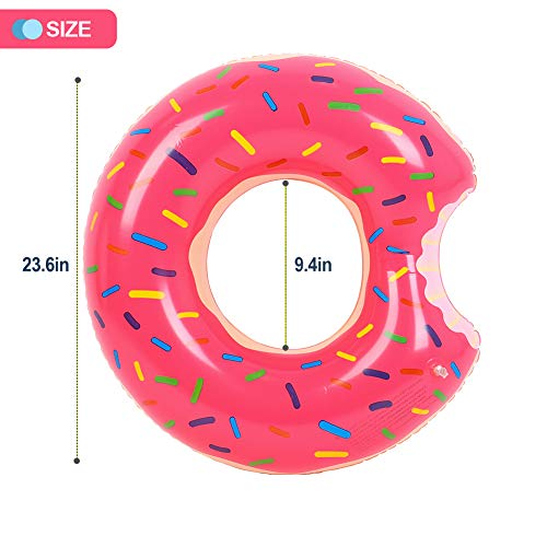 Buringer 2 Packs Donut Pool Float with Hand Pump,Inflatable Swimming Ring 60CM for Children Kids 3-1 - http://coolthings.us