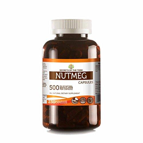 Nutmeg 230 Capsules, 500 mg, Organic Nutmeg (Rou Dou Kou, Myristica Fragrans) Dried Nut (230 Capsules)