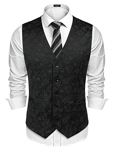 COOFANDY Men's Suit Vest Slim Fit Floral Jacquard Wedding Party Dress Tuxedo Waistcoat ()
