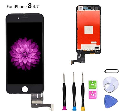 Compatible with iPhone 8 Screen Replacement (4.7 inch Black), LCD Digitizer 3D Touch Screen Assembly Set with Touch Function, Repair Tools and Professional Replacement Manual Included