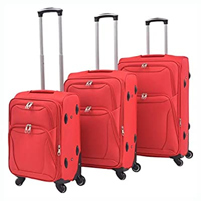 HomyDelight Suitcase, 3 Piece Soft Case Trolley Set Red