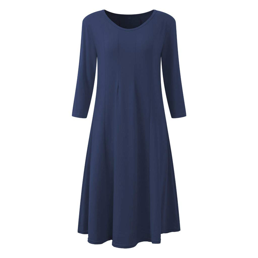 Dresses for Women Casual Summer Plus Size,St.Dona Ladies Loose Round Neck Long Sleeve Large Swing Multicolor Midi Dress