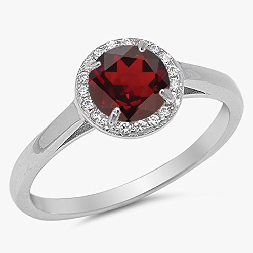 925 Sterling Silver Faceted Natural Genuine Red Garnet Round Halo Ring Size 6