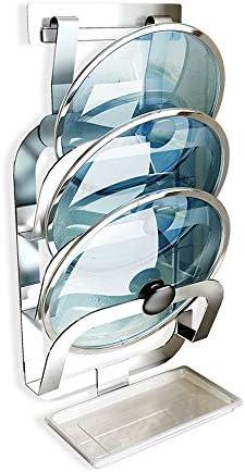パン蓋ホルダー 取り外し可能なドレントレイ付き無料パンチング鍋蓋オーガナイザーホルダーラック (色 : Silver, Size : 22.8×12.7×46.8cm)