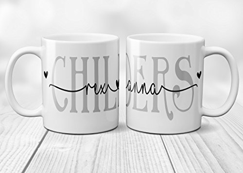 Coffee Mug Personalized with Couples Names with Hearts Ceramic Cup 11 oz.