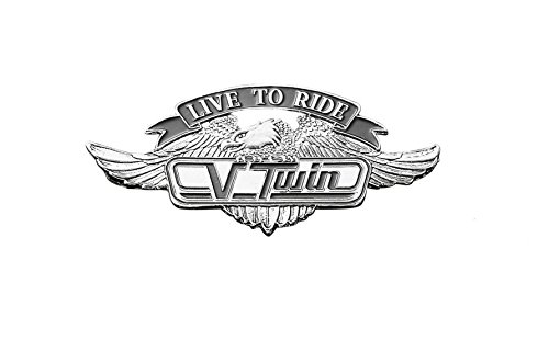 Live To Ride V Twin Chrome Self Adhesive Emblem with Eagle - 6cm Highway Hawk