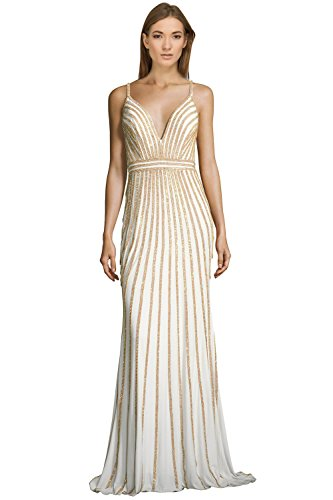 Jovani Rhinestone Embellished Jersey V-Neck Evening Gown Dress - Evening Dresses By Jovani