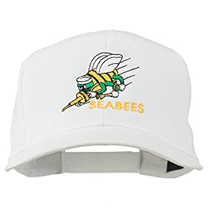 Navy Seabees Symbol Embroidered Cap - White