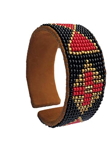 Mayan Arts Beaded Cuff Bracelet, Black, Gold, and Red, Suede,Western, Cowgirl Jewelry, Boho Look, Handmade in -