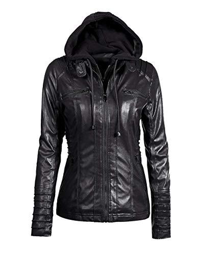 Mujer Biker Jacket Primavera Otoño Moda Casual Coat Outerwear Fashion De Tubo Hipster Outwear Suave Encapuchado Cazadoras Colores Sólidos Manga Larga Chaqueta Moto Schwarz