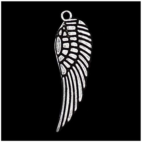 Pack of 80 Angel Wings Charms Pendants Silver Craft Supplies for Jewelry Making Tibetan Accessories for Bracelets Necklace DIY (Pendant Wing)