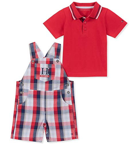 Tommy Hilfiger 2 Piece - Tommy Hilfiger Baby Boys 2 Pieces Shortall, red/Plaid, 6-9 Months
