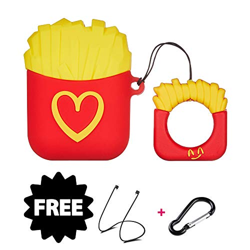 (Cute Silicone Airpods Case,3D Cute French Fries Hamburger Popcorn Shape Case Cover with Keychain Soft Silicone Shockproof Cover for Apple Airpods 1 & 2 (French Fries-Love Heart))