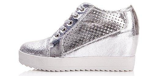Schnürung atmungsaktiver Sneaker Verdeckter Flacher mit Wedge Womens VECJUNIA Silver2 Casual qYA6Ixwnp8