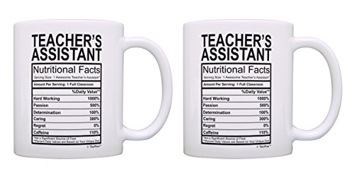 Teaching Gift For Men Teacher's Assistant Nutritional Facts Student Gift for Teachers 2 Pack Gift Coffee Mugs Tea Cups White