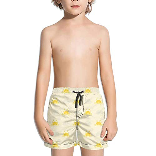 HEUIDENB Solid Boys' Swimming Trunks Dancing Crab Quick Dry Beach Shorts for Children with Pocket