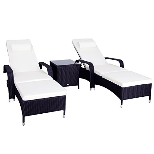 Peach Tree 3 Pcs Outdoor Recliner PE Rattan Wicker Patio Chaise Lounge Chair w/Sliding Tray and Tea Table - Audio Recliner Chair