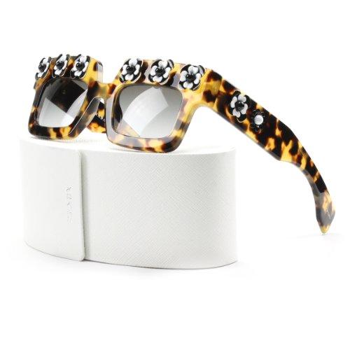 Prada SPR 25PS Sunglasses Brown Havana Flowers & Black Gradient Lens 25P - Prada Yellow Sunglasses