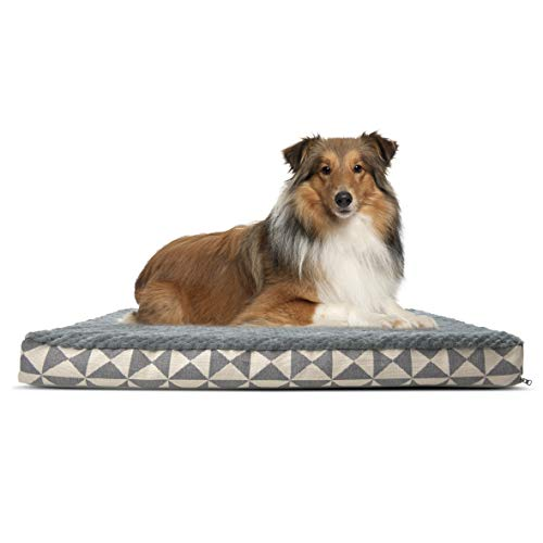 Furhaven Pet Dog Bed | Deluxe Orthopedic Mat Plush Kilim Traditional Foam Mattress Pet Bed w/ Removable Cover for Dogs & Cats, Pyramid Gray, Large