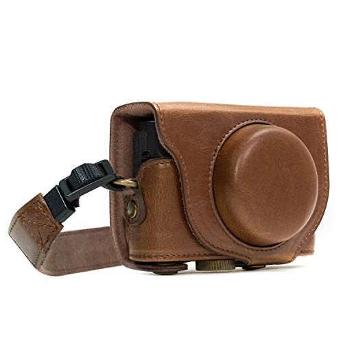 MegaGear MG597 Sony Cyber-shot DSC-HX99, DSC-HX95, DSC-HX90V, DSC-HX80 Ever Ready Leather Camera Case with Strap - Dark Brown