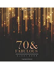 """70th Birthday Guest Book: Elegant Golden Bars Style Title & Welcome Page Space for a Photo Wishes & Messages Notes & Photos Gift Log 8.5"""" x 8.5"""" (21,6 x 21,6 cm) 120 Pages Cream Paper Glossy Cover"""