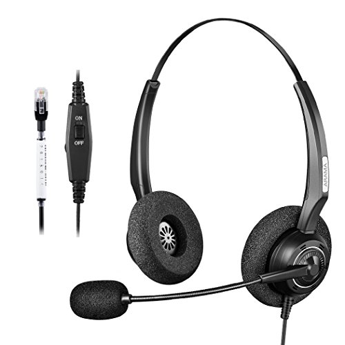 Arama Corded Headset with Microphone & Volume Mute Control, Call Center Telephone RJ Binaural Headset with Noise Cancelling for Avaya 1608 Panasonic KX-T Yealink T20P Cisco 7902 Snom 300 (Corded Headset Amplifier)