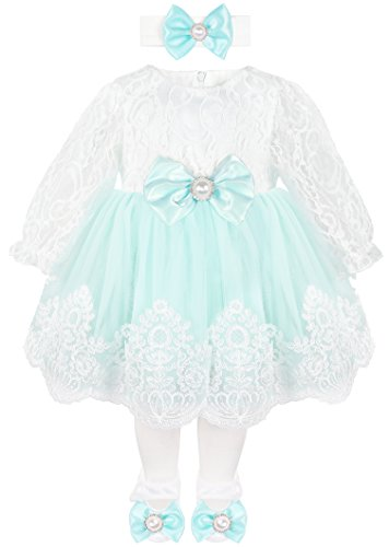 Taffy Baby Girl Newborn Lace Long Sleeve Princess Dress Gown 6 Piece Deluxe Set 0-3 Months Mint