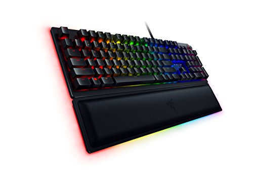 (Razer Huntsman Elite Gaming Keyboard - [Matte Black]: Opto-Mechanical Purple Key Switches - Instant Actuation - Chroma RGB Lighting - Magnetic Plush Wrist Rest - Dedicated Media Keys & Dial)