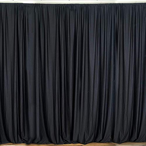New Creations Fabric & Foam 10 Feet Wide by 10 Feet High Seamless Polyester Backdrop Drapes Curtains Panel - (Black)
