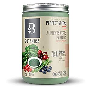 Botanica Perfect Greens Powder Blend | Berry Flavour | Certified Organic | Stevia Free | 216 grams | 27 Servings