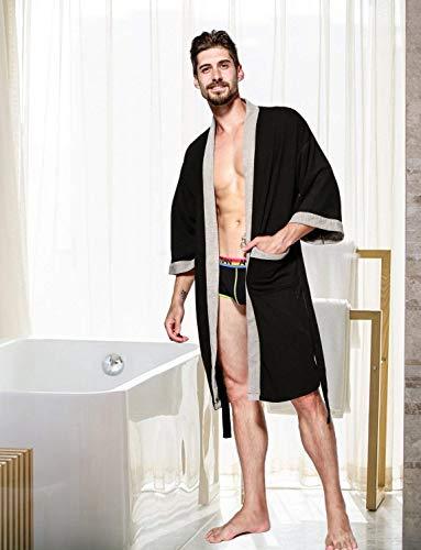 Accappatoio Con Lunga Grau 2 Kimono Cialda Cotone Tasche Battercake Da Morbido In Donna Vestaglia Comodo E waFT1