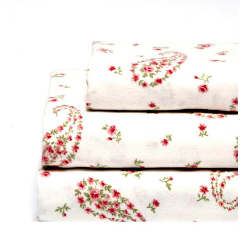 Laura Ashley Flannel Twin Sheet Set, Bristol Paisley