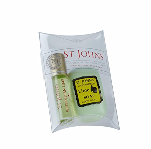 West Indian Lime Cologne for Men 2 Piece Set by St Johns. Travel Size Citrus Mens Cologne and Bath Soap. Best Selling Mens Fragrance Sampler, Tester, Sample Set. The best lime mens cologne gift set.