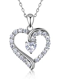 "925 Sterling Silver heart necklace - Billie Bijoux ""You Are the Only One"" Love Platinum Plated Diamond pendant 18"""