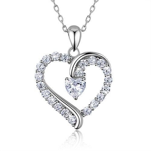 "925 Sterling Silver Heart - 925 Sterling Silver heart necklace - Billie Bijoux ""You Are the Only One"" Love Platinum Plated Diamond pendant 18"