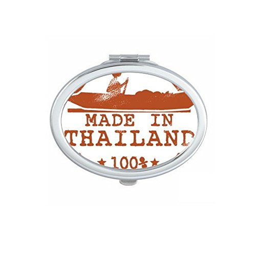 Kingdom of Thailand Thai Traditional Customs Make In Thailand Kayaking Art Illustration Oval Compact Makeup Pocket Mirror Portable Cute Small Hand Mirrors by DIYthinker