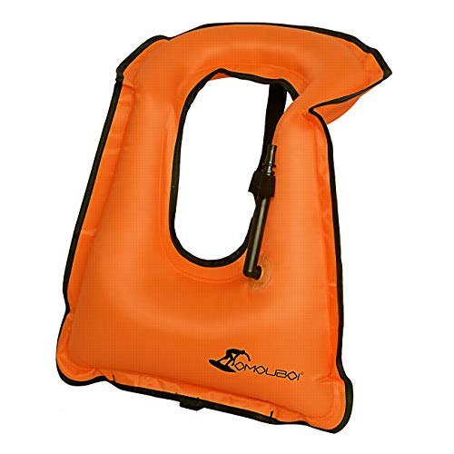 OMOUBOI Snorkel Vest Inflatable with Crotch Strap for Adults Youth Large Snorkeling Vest for Women Men for Snorkeling Diving Swimming-Orange