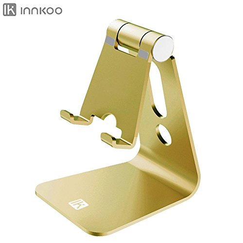 Multi-angle Adjustable Cell Phone Stand, InnKoo L1 Aluminum Cradle, Dock, Holder For iPhone X 8 7 6 6s Plus 5 5s 5c Samsung Galaxy and all Android Smartphone, Easy charging Accessories Desk (Golden) by InnKoo