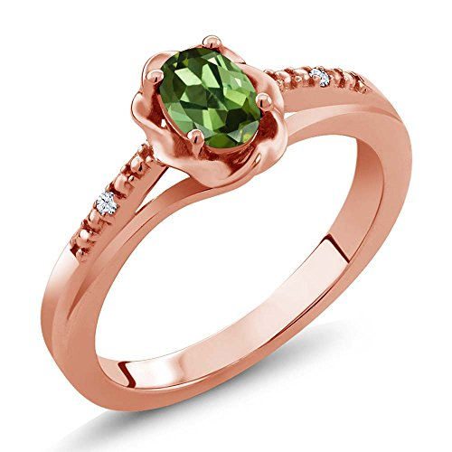- Gem Stone King 0.52 Ct Oval Green Tourmaline White Topaz 18K Rose Gold Plated Silver Ring (Size 9)