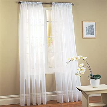 Amazon.com: MONAGIFTS WHITE Voile Window Panel Solid sheer valance ...