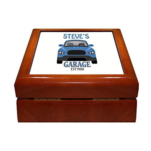 Style In Print Personalized Custom Text Cars Man's Garage Est 1980 Wood Organizer Jewelry Box 4