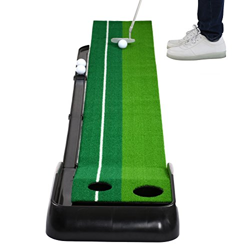 Balight Putting Green Indoor Outdoor Golf Auto Return with 3 Ball and 1 Putter Putting Trainer Mat Dual-Track ProEdge - Extra Long 10.5 Feet Mat - 2 Holes by Balight (Image #2)
