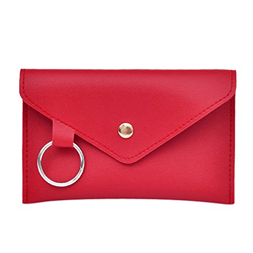Hot Sales!! ZOMUSAR Fashion Women Pure Color Ring Artificial Leather Messenger Shoulder Waist Bag Chest Bag (Red)